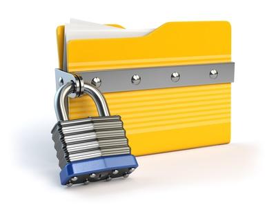 Dateiordner mit Vorhängeschloss